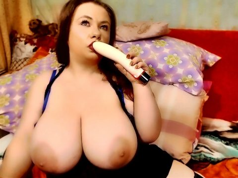 Big natural tits of a young housewife